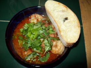 Here's my dinner last night. A simple Sausage and Shrimp One Pot meal courtesy of Rachel Ray. Topped off with fresh basil and parsley served with a big hunk of crusty ciabatta bread!
